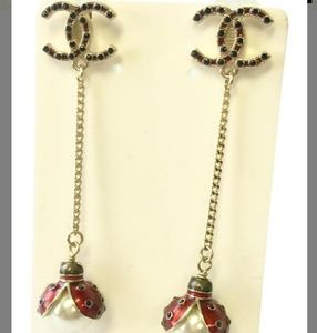 Chanel Lady Bug Pearl Dangle Earings